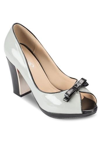 蝴蝶結滾邊粗跟鞋esprit 請人, 女鞋, 魚口鞋