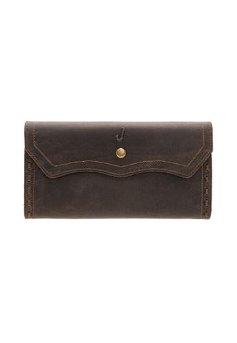 Jack Studio brown Jack Studio Unisex Leather Handcraft Premium Snap Closure Long Wallet FE637AC5FB0BD6GS_1