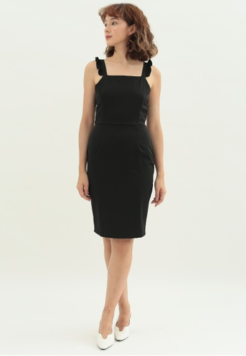 Love Knot black Petunia Ruffle U Back Dress (Black) 02131AA68577D6GS_1
