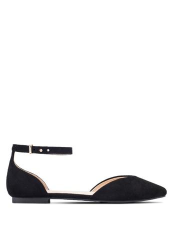 ZALORA black Ankle Strap D'Orsay Flats 01B59SH2C7D648GS_1