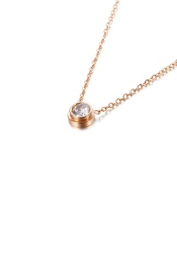 Glamorousky white Simple and Exquisite Plated Rose Gold Geometric Round Cubic Zirconia 316L Stainless Steel Pendant with Necklace 8B0F1AC45CB41EGS_1