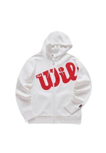 FILA white FILA x Wilson Logo Hooded Jacket 5E98BAAFC491A6GS_1