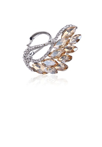 Glamorousky white Fashion Temperament Swan Brooch with Champagne Cubic Zirconia CD899AC53C6403GS_1