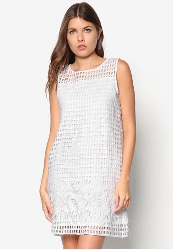 蕾絲拼接直筒連身裙esprit台灣outlet, 服飾, 洋裝