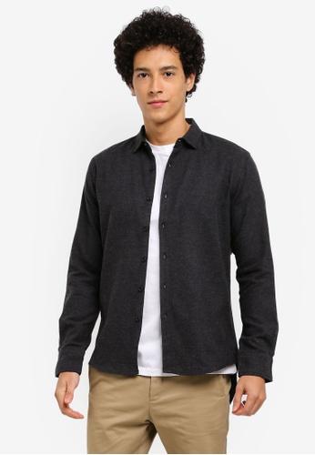 ZALORA black Frayed Long Hem Cotton Long Sleeve Shirt 7B029AA7296DDFGS_1