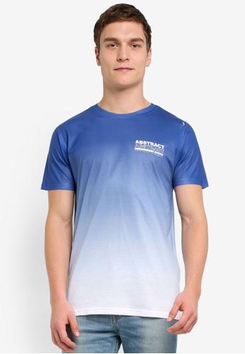 River Island blue Blue Abstract Fade Print T-Shirt RI009AA0SIV5MY_1