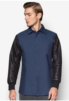 WT-Quilted Long Sleeve Oxford Shirt