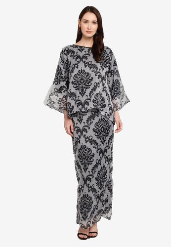Zuco Fashion black Midi Kurung Kedah Organza 5C688AAB2CD606GS_1