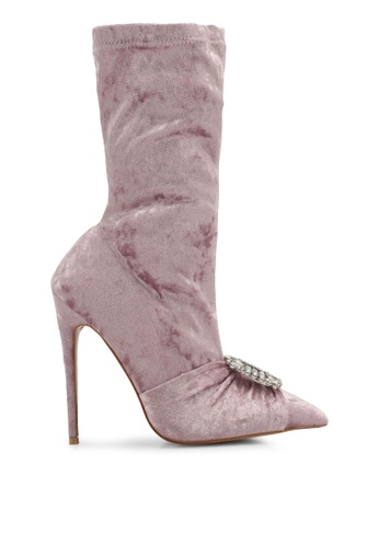 Public Desire pink Distinct Buckle Detail Sock Fit Ankle Boots PU378SH0SIOVMY_1