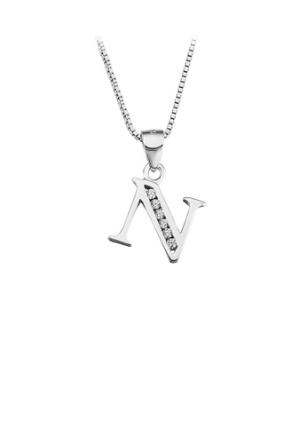 Glamorousky white 925 Sterling Silver Fashion Simple English Alphabet N Pendant with Cubic Zirconia and Necklace F886CAC9BFD142GS_1