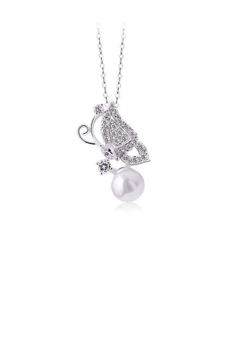 Glamorousky silver Pretty Butterfly Pendant with Silver Austrian Element Crystal and White Fashion Pearl 5B459AC85AD42CGS_1