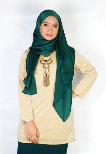 Zaryluq gold Glitter Knitted Top in Olive Gold 1ED56AA09980C8GS_1