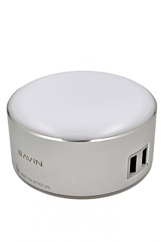 BAVIN silver 2.4A 2 Ports LED Touch Lamp Charger 28612AC8B04E1FGS_1