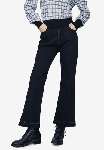 URBAN REVIVO black Flare Hem Jeans DDE8EAA9A30C4DGS_1