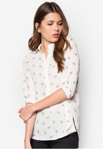 Ivory Dotty Floral Roll-Sleeve Blouse, 服zalora 心得 ptt飾, 上衣