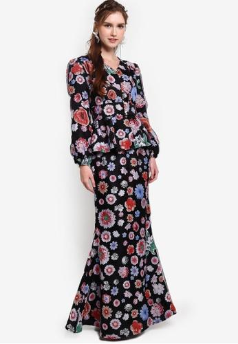 Lubna black Floral Organza Front Button Kurung. 4795EAA5623E8DGS_1