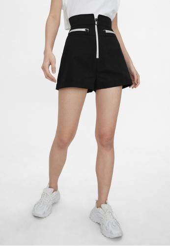 Pomelo black High Waisted Zipper Shorts - Black D8F57AA5F5E782GS_1