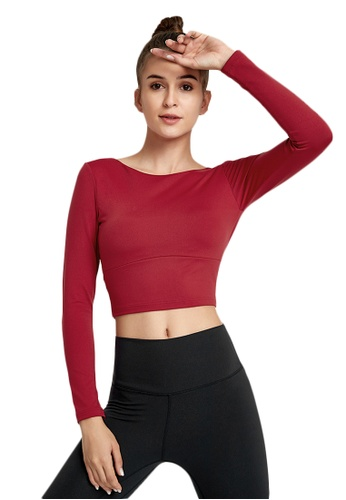 B-Code red ZWG7010Lady Quick Drying Running Fitness Yoga Sports Top -Red 67E16AA5AF6E11GS_1