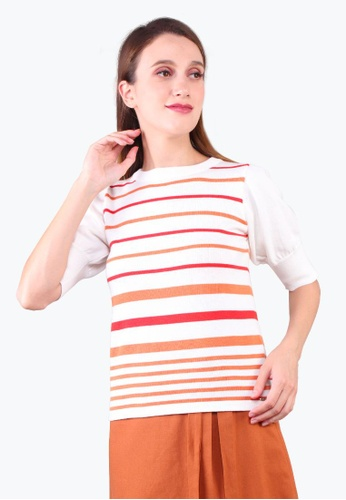 Elle red Striped Puff Sleeve Knit Blouse - Red 58996AAF571C56GS_1