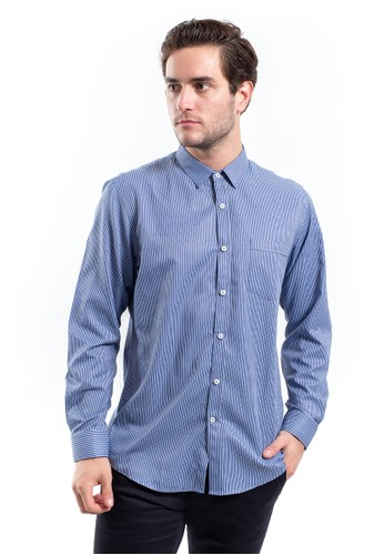 MANLY blue Manly Straton Blue Slim Fit Striped Shirt Printed 47228AA56855B4GS_1