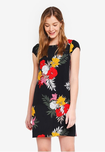 Dorothy Perkins 黑色 Black Floral Stripe Shift Dress 82BE0AA25E281FGS_1