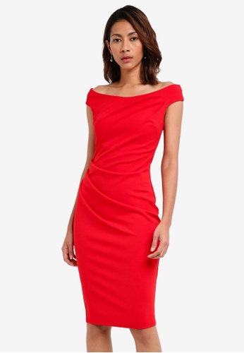Goddiva red Fitted Midi Dress With Pleating Detail 38A10AABE91CB5GS_1