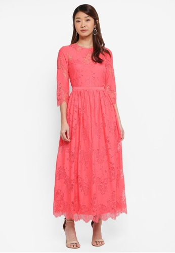 Little Mistress pink Lace Midi Dress F4C4FAA6A66B42GS_1