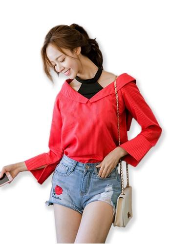 Sunnydaysweety red 2017 F/Wr New Fake Two Pieces  Women Tops  UA090801 SU219AA0FSUHSG_1