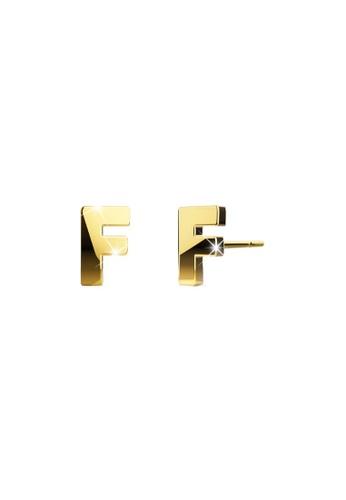 Bullion Gold gold BULLION GOLD Dainty Alphabet Letter Earring Gold Layered Steel Jewellery - F E5F55AC915C481GS_1