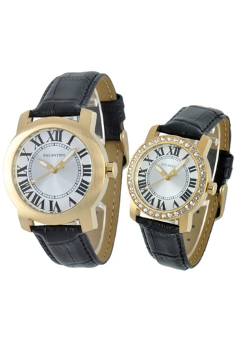 EGLANTINE gold EGLANTINE® - Emile & Emily - 2 Quartz Watches Yellow Gold Plated Steel on Strap - Lady's with Crystals E725BACF925EF9GS_1