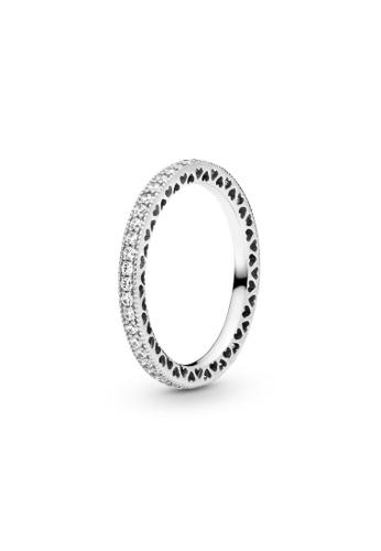 PANDORA silver Pandora Sparkle & Hearts Ring FA0C3AC5D19A9EGS_1