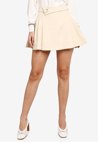 Hopeshow beige A-Line Mini Skirt with Side Pleats B19E3AAD12533AGS_1