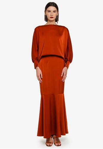 Zalia 褐色 Bishop Cuffed Sleeves Top With Skirt Set 15CF7AADF17FF0GS_1