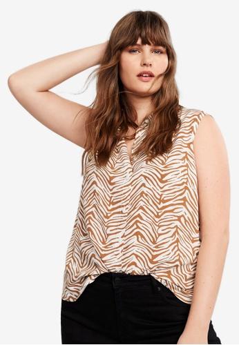Violeta by MANGO 白色 Plus Size Animal Print Shirt 760F1AA51189ADGS_1