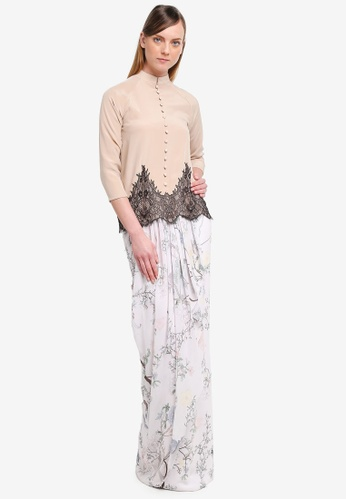YADOTSA for ZALORA pink and beige Llaria Printed Drape Button Kurung YA729AA0STGYMY_1