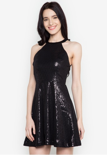 Twenteen black Hedda Haltered Sequin Dress TW408AA0JCN1PH_1