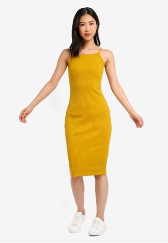 ZALORA BASICS yellow Basic Rib Dress With V-Back 2D8B4AAFAC669CGS_1