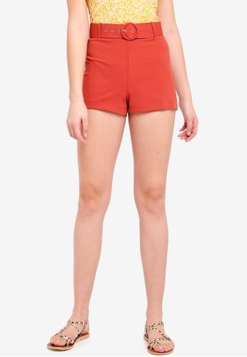 Miss Selfridge brown Rust Belted Jersey Shorts 51D6EAAA6764D3GS_1