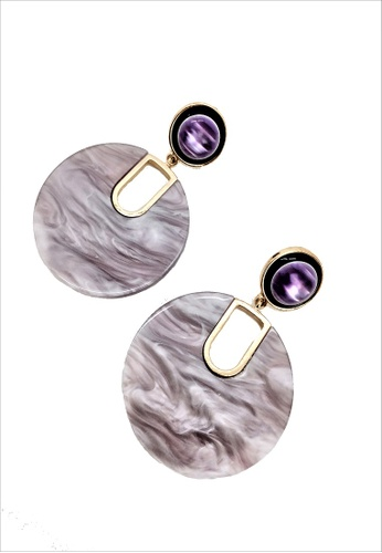 My Flash Trash purple Lavender Marble Statement Earring 64A3DAC6163BA5GS_1