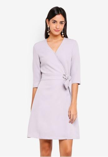 ZALORA grey Three Quarter Sleeves Wrap Dress 41FAAAA91E476DGS_1