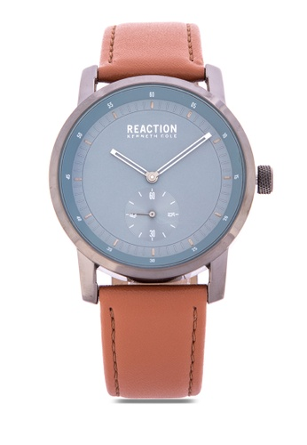 5b49726ce5b Kenneth Cole Reaction brown Men Brown Leather Strap Analog Watch  9B071AC41F2322GS 1
