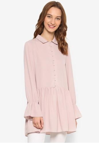 Love 褶飾荷葉擺長版esprit專櫃襯衫, 服飾, 上衣