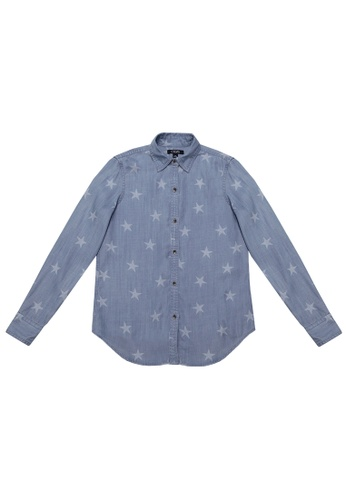 31cf525c CHAPS blue Chaps Long-Sleeve Star Button-Down Shirt 25AACAA7C587B2GS_1