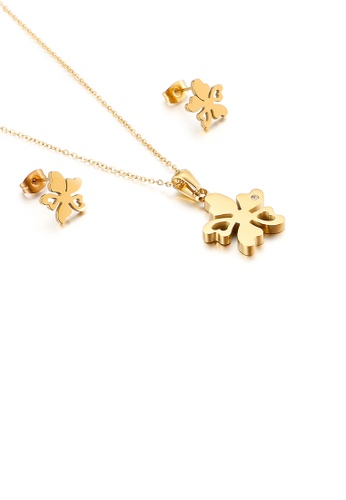 Glamorousky white Fashion and Simple Plated Gold Flower 316L Stainless Steel Necklace and Stud Earring Set 59799AC5B6E6B1GS_1