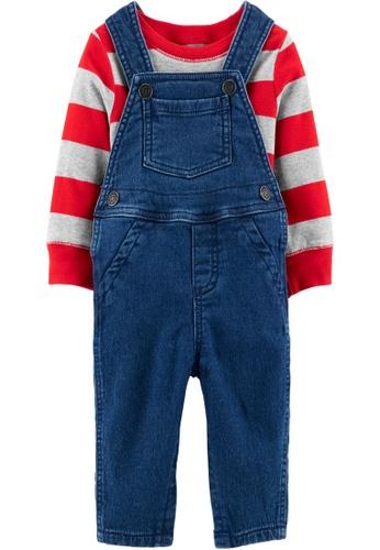 Carter's blue CARTER'S Boy Denim Stripe Tee & Shortall Set 0C561KA0B60EABGS_1