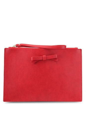 Velvet red Large Clutch with Bow Detail B725CZZ0D3C558GS_1