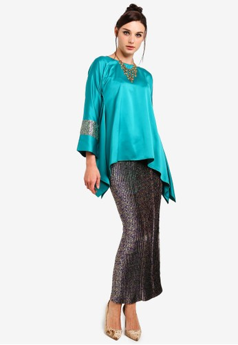Yans Creation green and blue Melayu Manis Kurung C2BD8AAEC34618GS_1