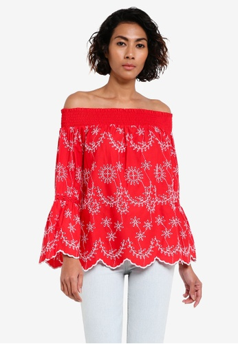 Miss Selfridge red Red Embroidered Bardot Top MI665AA0RV1VMY_1