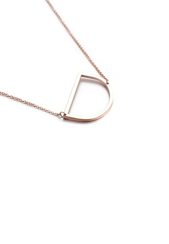 Glamorousky silver Fashion Simple Plated Rose Gold English Alphabet D 316L Stainless Steel Pendant with Necklace 9B1C8AC5D1C3F6GS_1