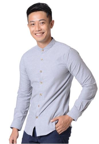 Praise grey Stand Collar Long Sleeves Shirt F60E7AA5D8DB57GS_1